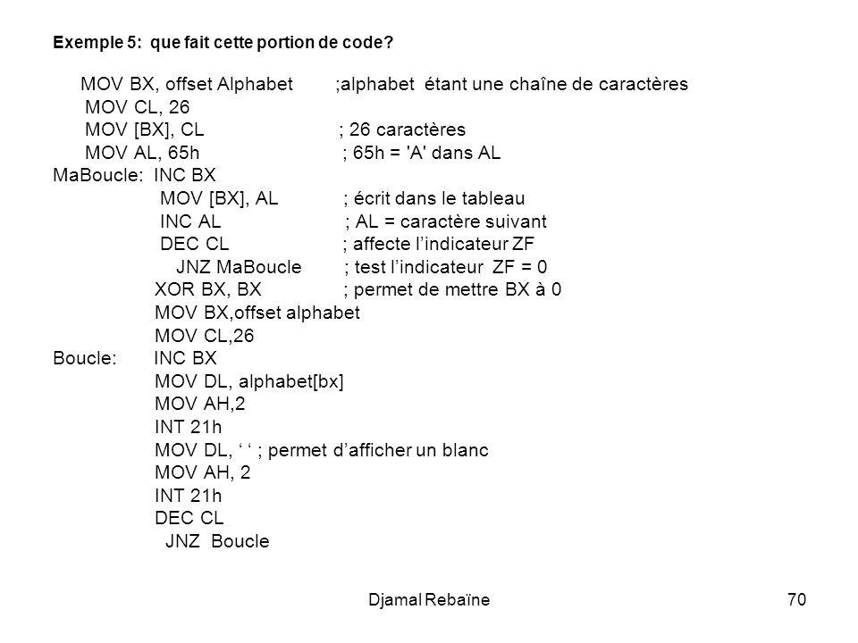 MOV [BX], CL ; 26 caractères MOV AL, 65h ; 65h = A dans AL